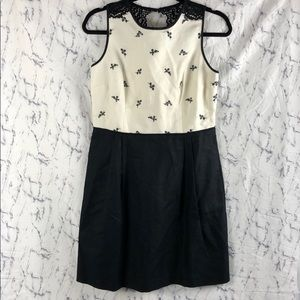 NWT Loft Black Embroidered Flower Lace Dress